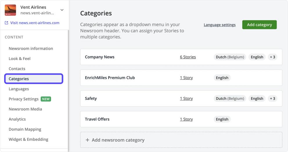add a newsroom category